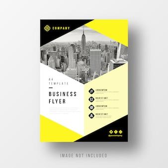 Modelo de panfleto de negócio abstrato com elementos amarelos