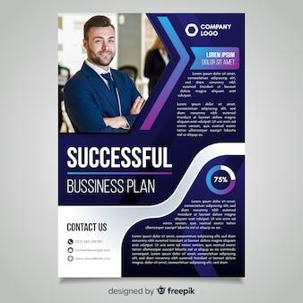 Modelo de panfleto de negócio bem sucedido com foto