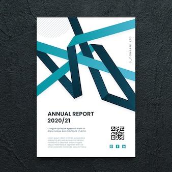 Modelo de panfleto de negócios abstratos com formas azuis