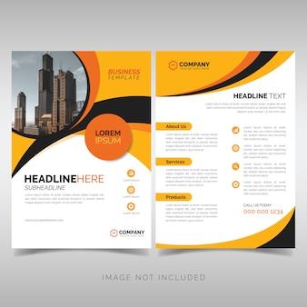 Modelo de panfleto de negócios amarelo e preto com formas onduladas