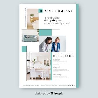 Modelo de panfleto de negócios com design de mosaico