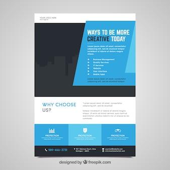 Modelo de panfleto de negócios com design plano