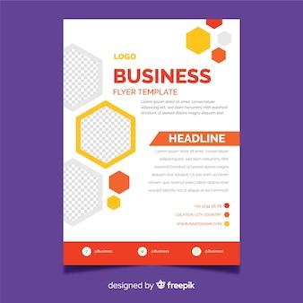 Modelo de panfleto de negócios com elementos de design de mosaico