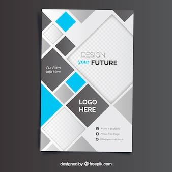 Modelo de panfleto de negócios com estilo abstrato