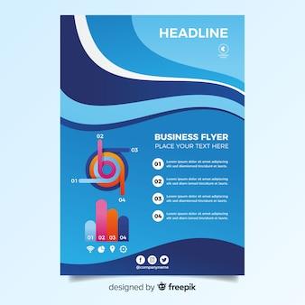 Modelo de panfleto de negócios com formas abstratas