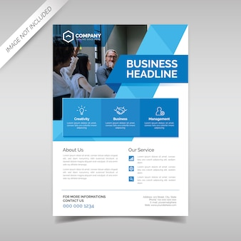 Modelo de panfleto de negócios com formas geométricas azuis