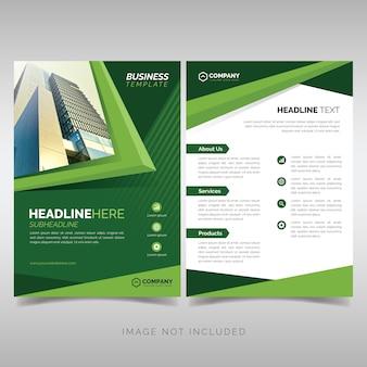 Modelo de panfleto de negócios com formas geométricas verdes