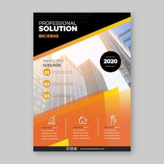 Modelo de panfleto de negócios com foto de edifícios