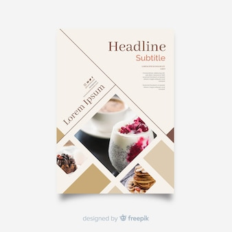Modelo de panfleto de negócios com fotos de mosaico