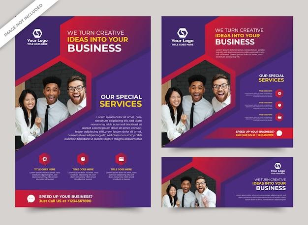 Modelo de panfleto de negócios com os modelos de banner de mídia social