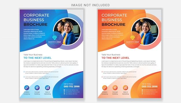 Modelo de panfleto de negócios corporativos com gradiente de cor
