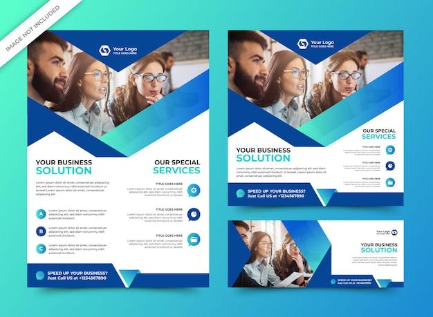 Modelo de panfleto de negócios corporativos com os modelos de banner de mídia social