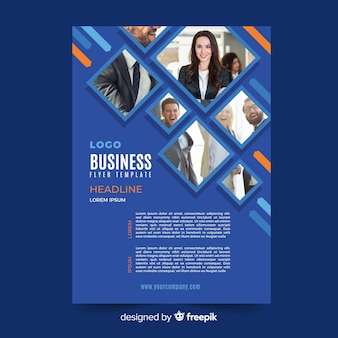 Modelo de panfleto de negócios de mosaico azul
