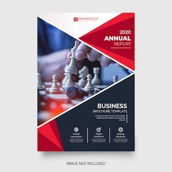 Modelo de panfleto de negócios profissional com formas vermelhas