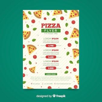 Modelo de panfleto de pizza fatias planas