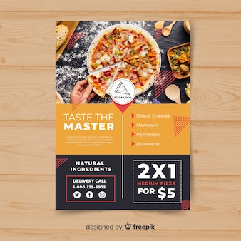 Modelo de panfleto de pizza