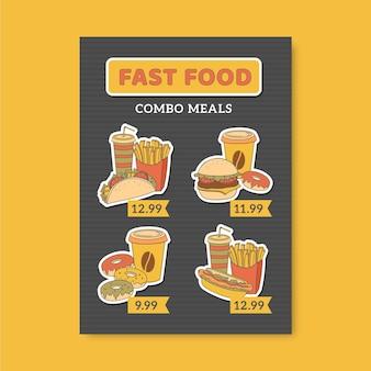 Modelo de panfleto de refeições combinadas
