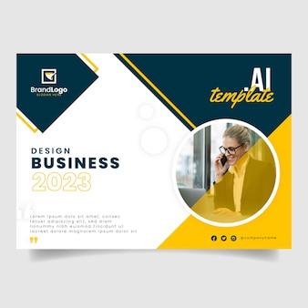 Modelo de panfleto de relatório comercial com foto de mulher de negócios