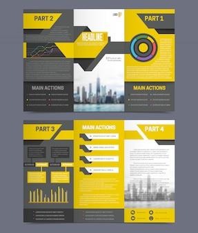 Modelo de panfleto de relatório de empresa na ilustração em vetor isoladas plana fundo cinza