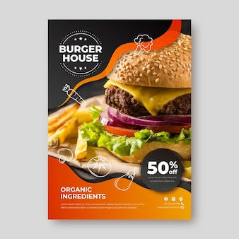 Modelo de panfleto de restaurante de comida deliciosa
