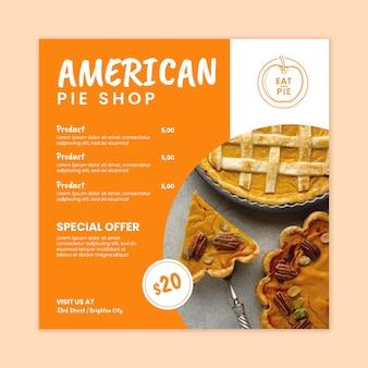 Modelo de panfleto de torta americana