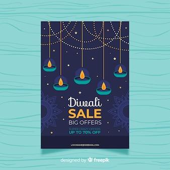 Modelo de panfleto de venda de design plano diwali