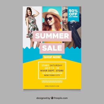 Modelo de panfleto de venda de verão com a imagem do conceito de moda
