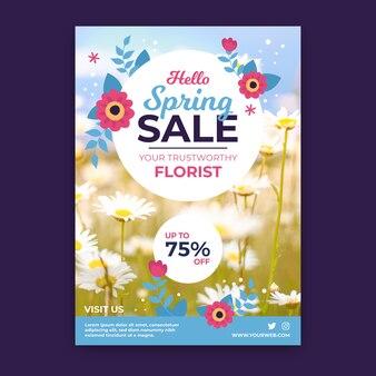 Modelo de panfleto de venda primavera com conceito de foto