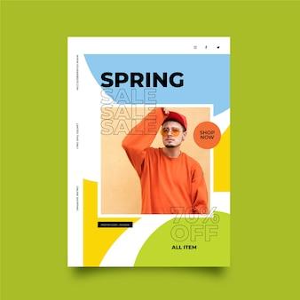 Modelo de panfleto de venda primavera com foto