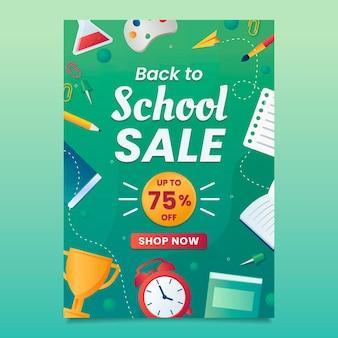 Modelo de panfleto de venda vertical gradiente de volta à escola