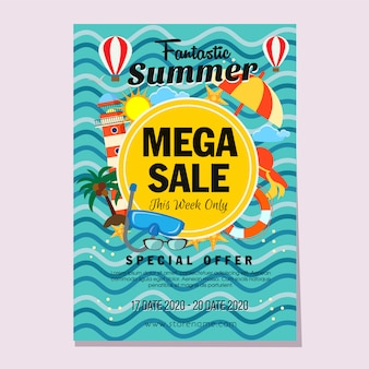 Modelo de panfleto de vendas mega verão estilo plano ilustração vetorial de farol