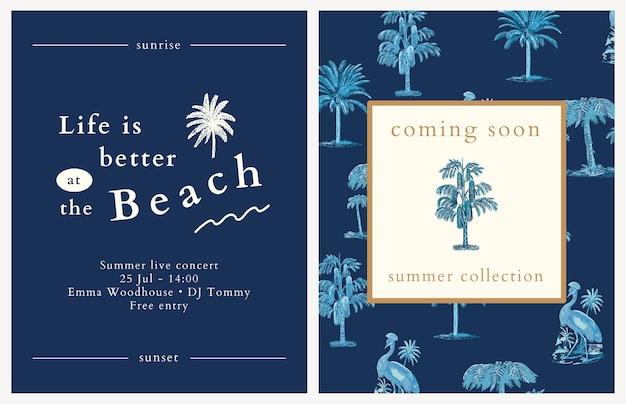 Modelo de panfleto de verão azul com fundo tropical