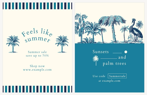 Modelo de panfleto de verão azul vetor fundo tropical