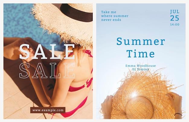 Modelo de panfleto de verão colorido com fundo tropical