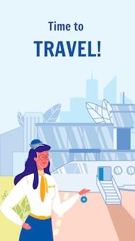 Modelo de panfleto de vetor para viajar com texto