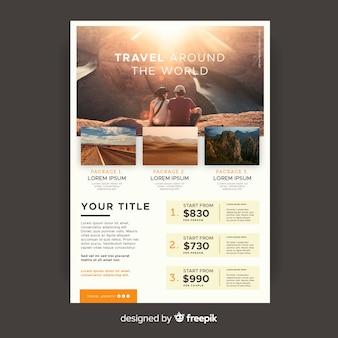 Modelo de panfleto de viagem ao redor do mundo com foto