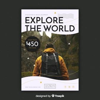 Modelo de panfleto de viagem com imagem