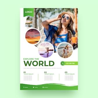 Modelo de panfleto de viagem gradiente