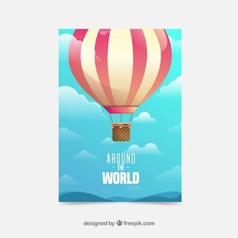 Modelo de panfleto de viagem plana com balão