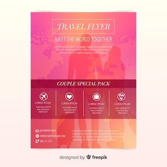 Modelo de panfleto de viagens de silhueta de pessoas