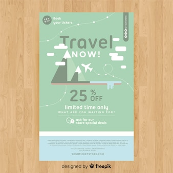 Modelo de panfleto de viagens montanhas planas