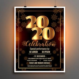 Modelo de panfleto ou cartaz de comemoração para feliz ano novo