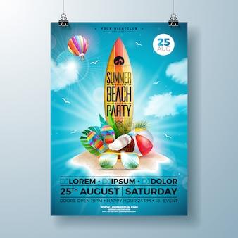 Modelo de panfleto ou cartaz de festa de praia de verão design com flor, bola de praia e prancha de surf