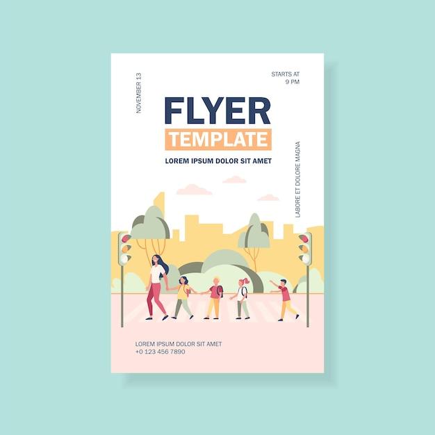 Modelo de panfleto para alunos e professores que cruzam a rua