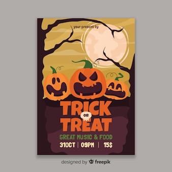 Modelo de panfleto plano abóboras halloween cartaz