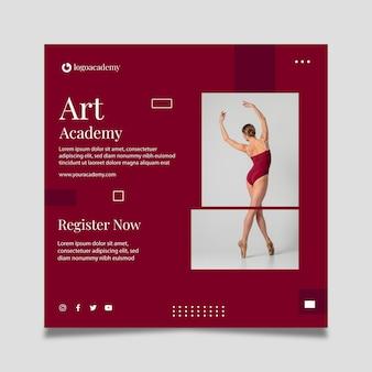 Modelo de panfleto quadrado de academia de dança