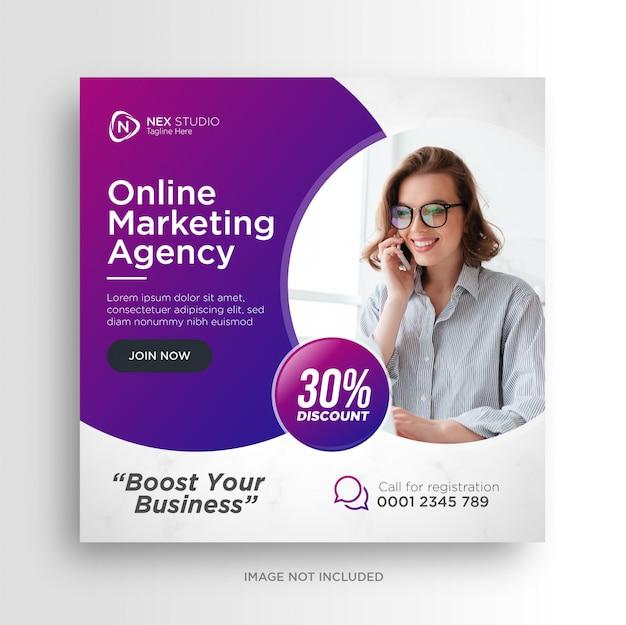 Modelo de panfleto quadrado de banner de mídia social de marketing empresarial digital