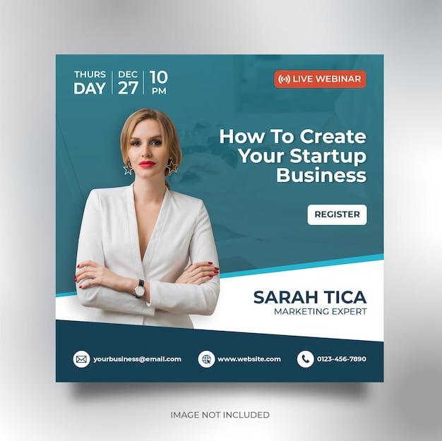 Modelo de panfleto quadrado de banner de mídia social para conferências de negócios