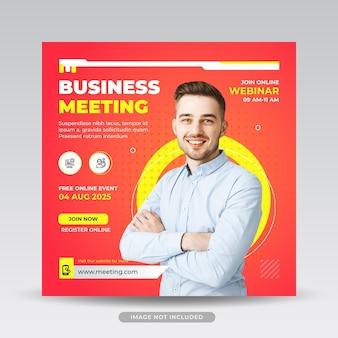 Modelo de panfleto quadrado de banner de mídia social para reunião de negócios