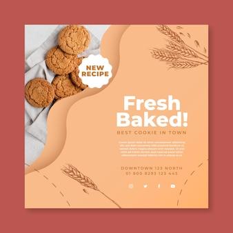 Modelo de panfleto quadrado de biscoitos assados